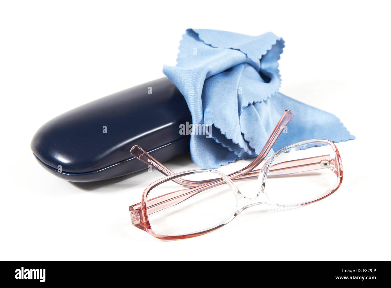 Eyeglasses, case and cloth on a white background - Stock Image