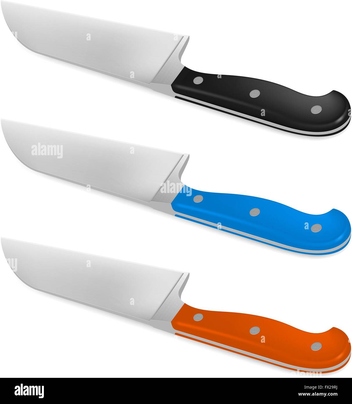 Santoku knife with handle in different color Stock Vector