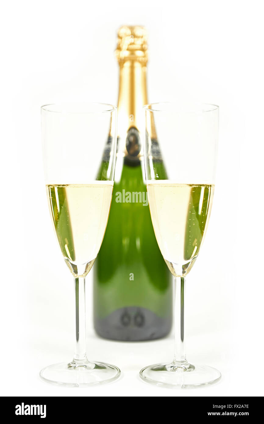 Champaign shoot in high key with white background - Stock Image