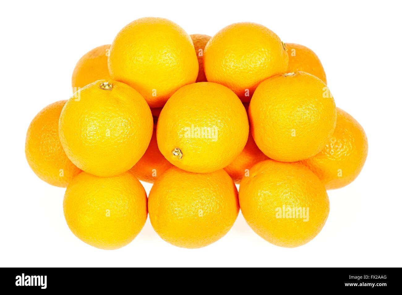 Fresh oranges isolated on a white background - Stock Image