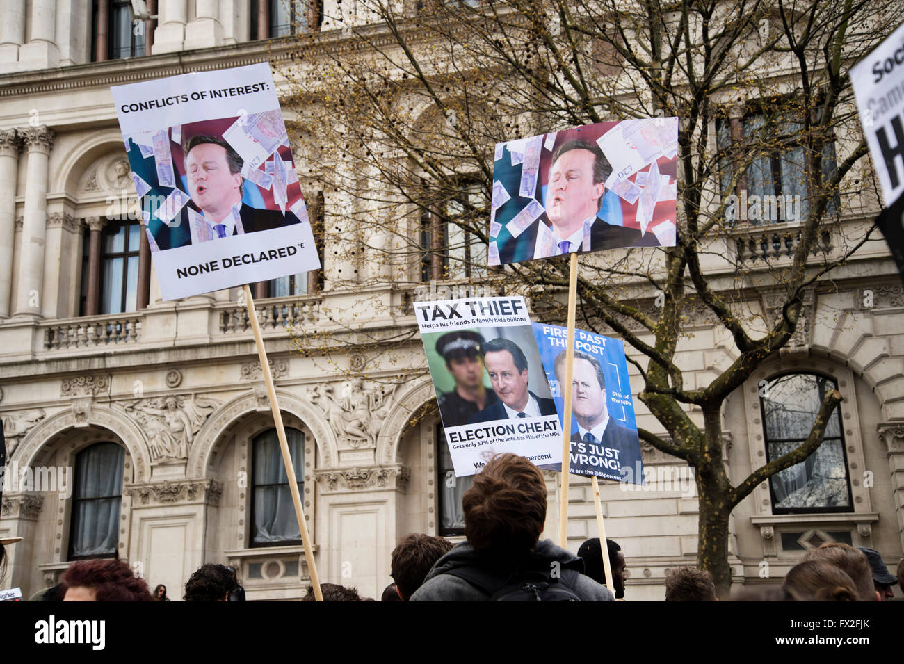 Demonstrators in Whitehall, London, England UK on 9th April 2016 call for Prime Minister David Cameron to resign - Stock Image