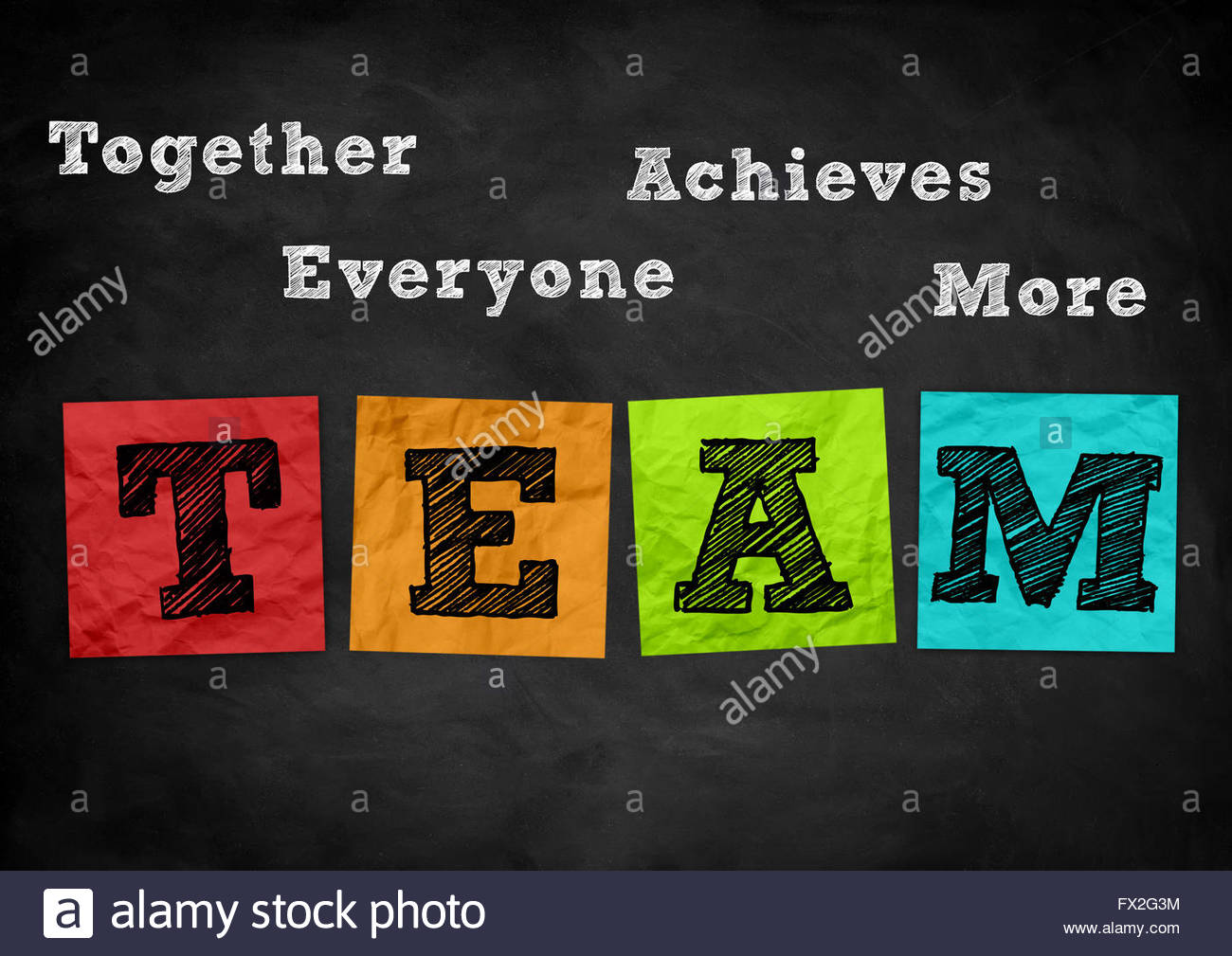Teamwork - chalkboard illustration - Stock Image