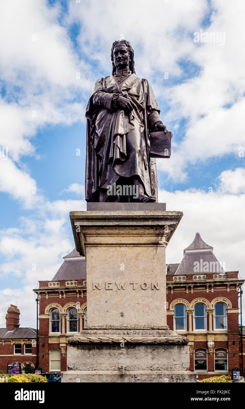 Statue of Sir Isaac Newton, St Peter's hill, Grantham, Lincolnshire, UK. - Stock Image