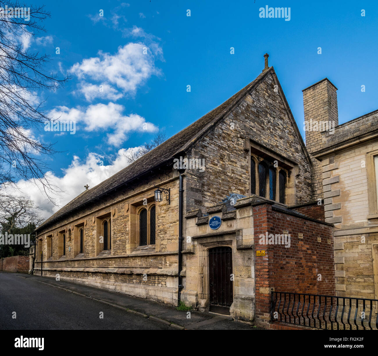 The Original King's School building in Grantham, Lincolnshire, UK, where Sir Isaac Newton was taught. - Stock Image