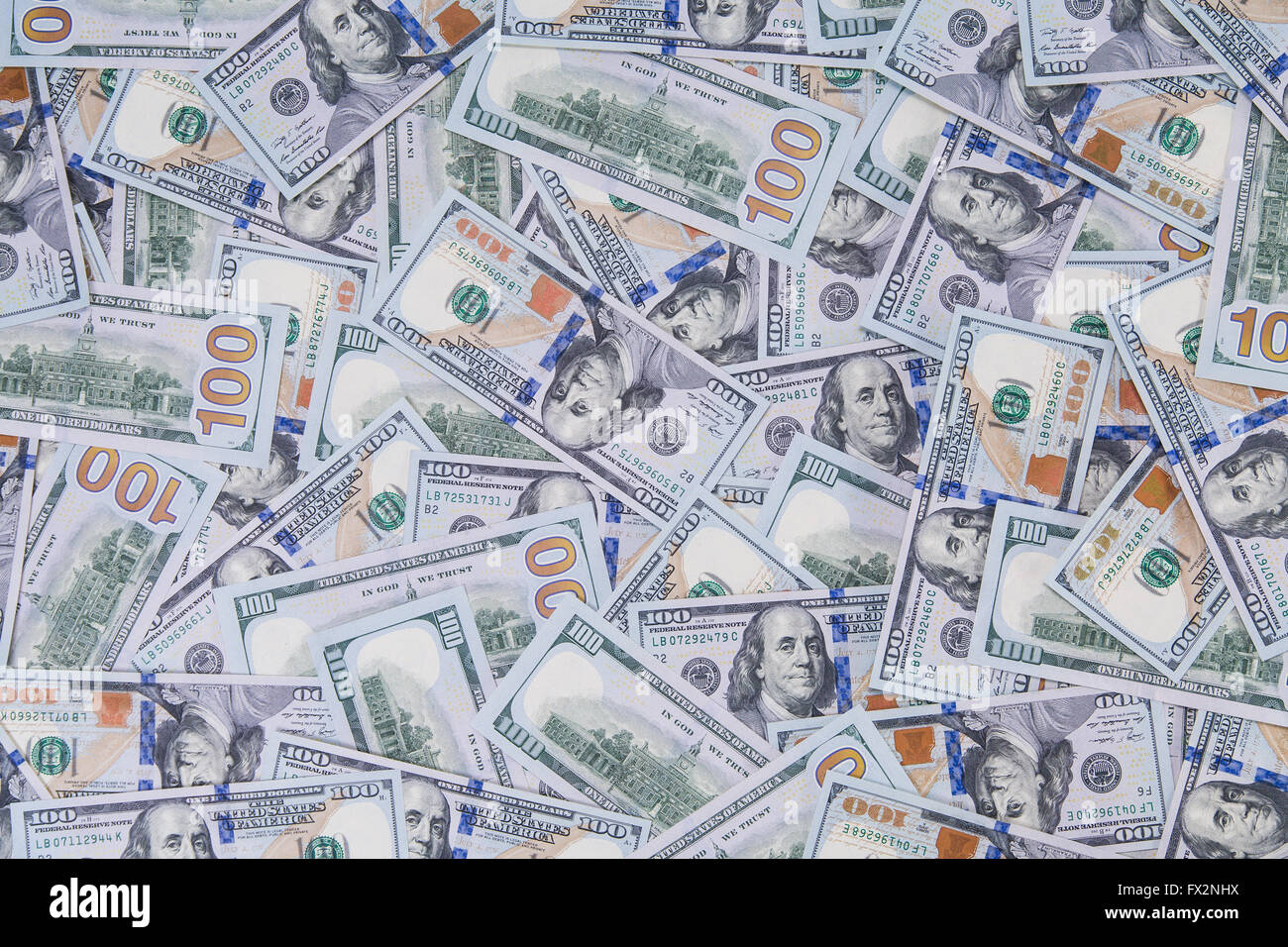 Background of new styled hundred dollar bills - Stock Image