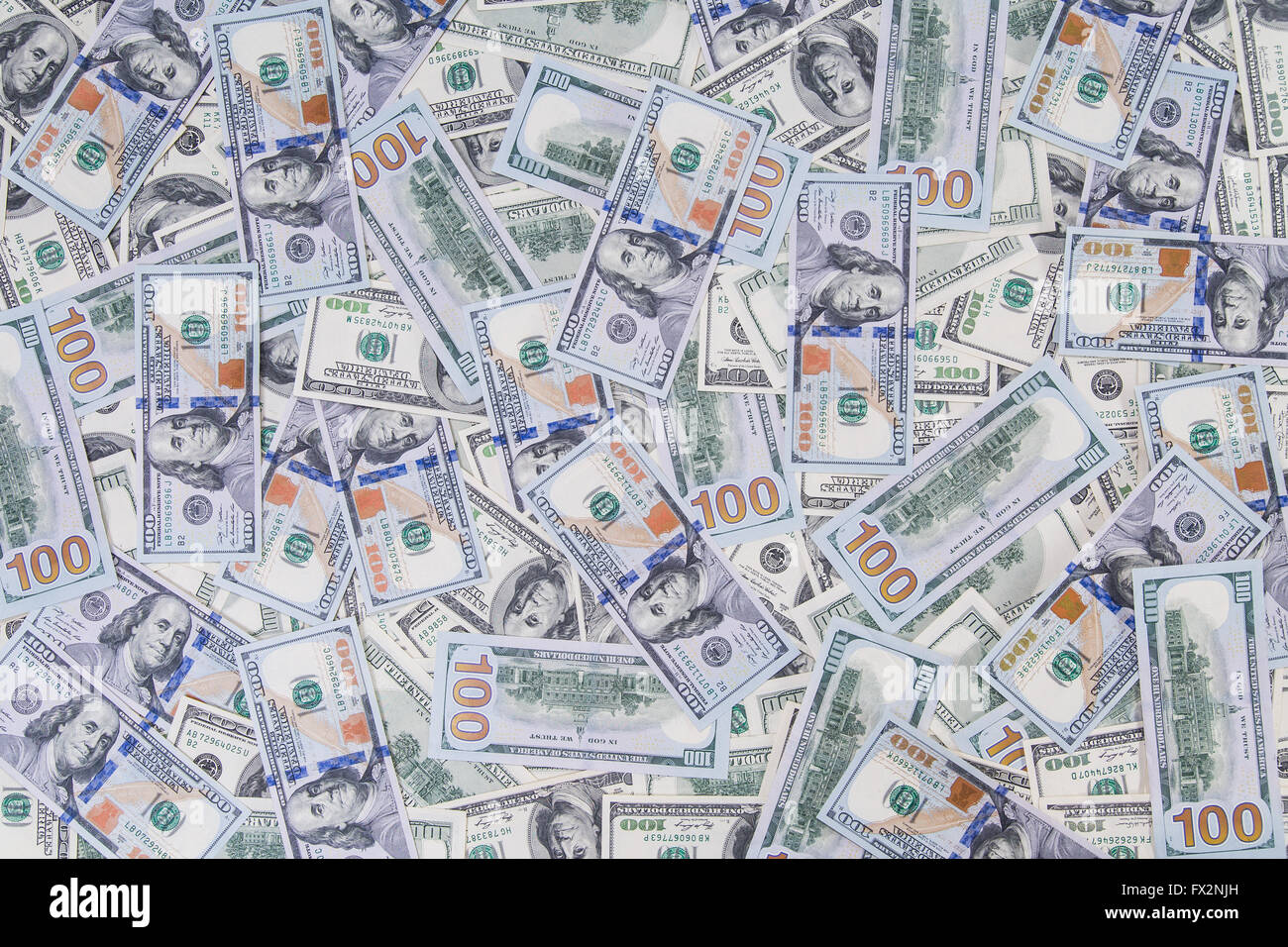 Pattern from new and old styled hundred dollars - Stock Image