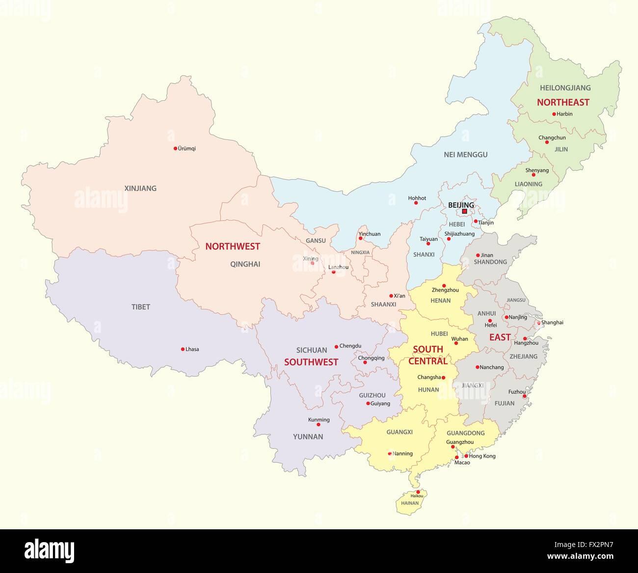 china regions map - Stock Image