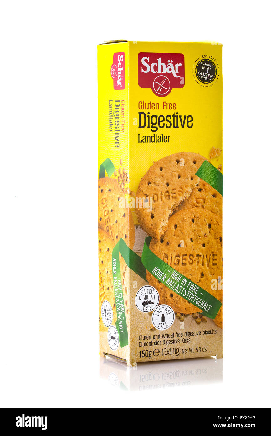 Box of Schar Gluten and Lactose Free Digestive biscuits - Stock Image