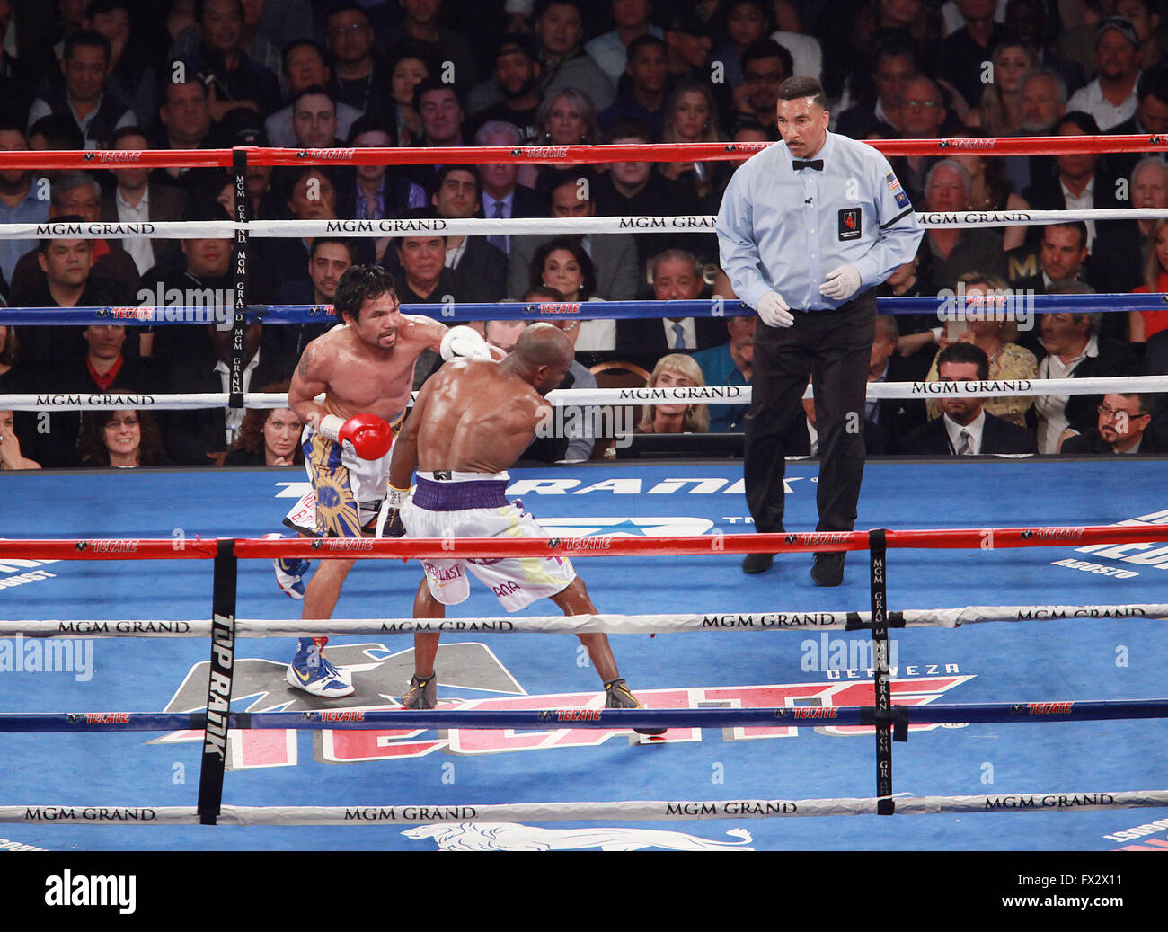 Las Vegas, Nevada, USA. 10th Apr, 2016. Boxer Manny Pacquioa defeats Timothy Bradley to win the World Boxing Organization - Stock Image