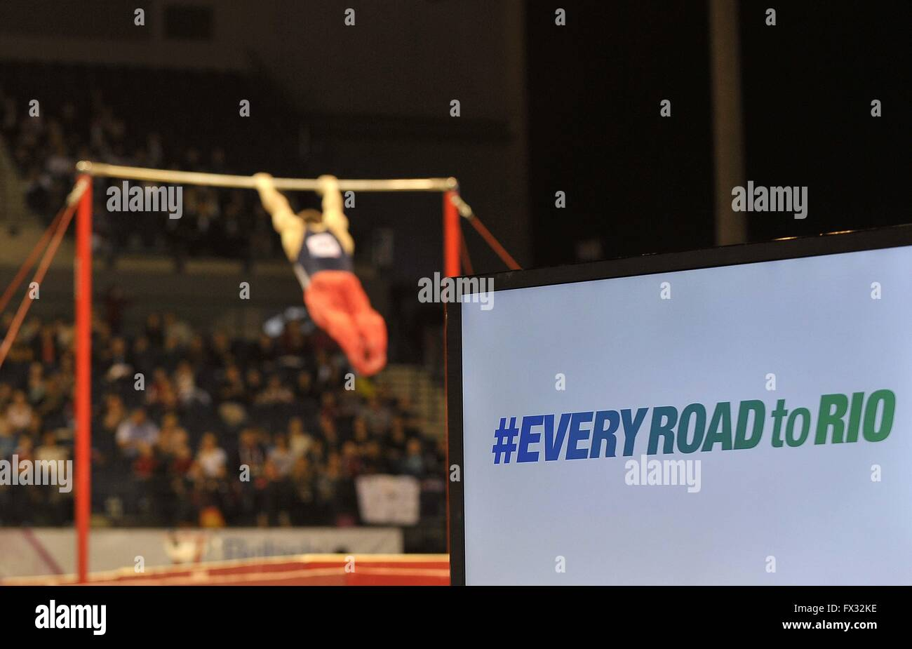 Liverpool, UK. 10th April, 2016. #everyroadtorio and the high bar. British Gymnastics Championships 2016. Echo Arena. Stock Photo