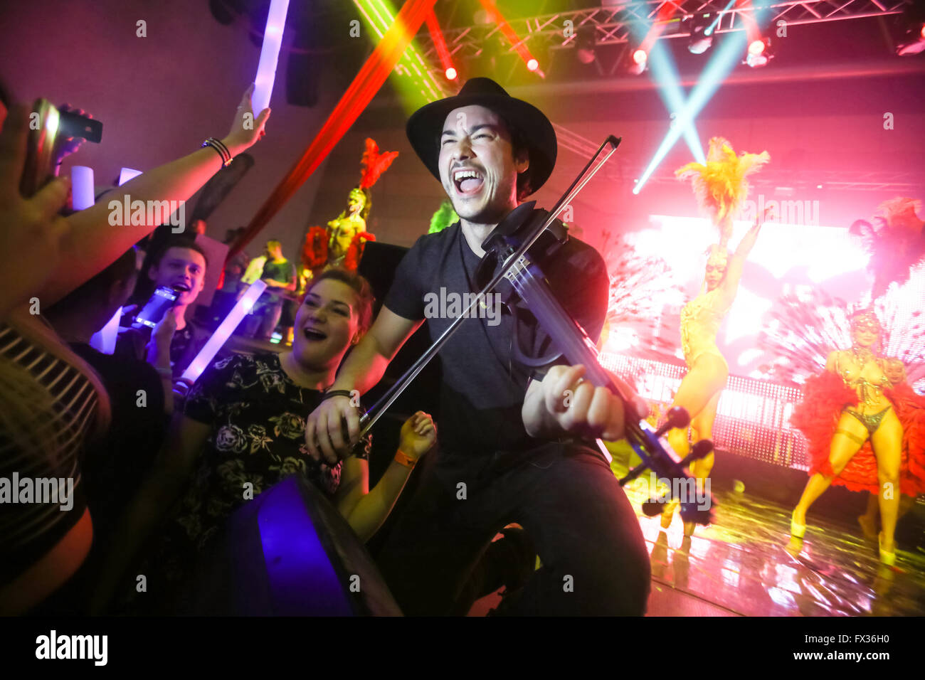 Zagreb, Croatia. 9th April, 2016. : The famous violinist Miguel Lara performing on La Fiesta Stage by Sensation - Stock Image