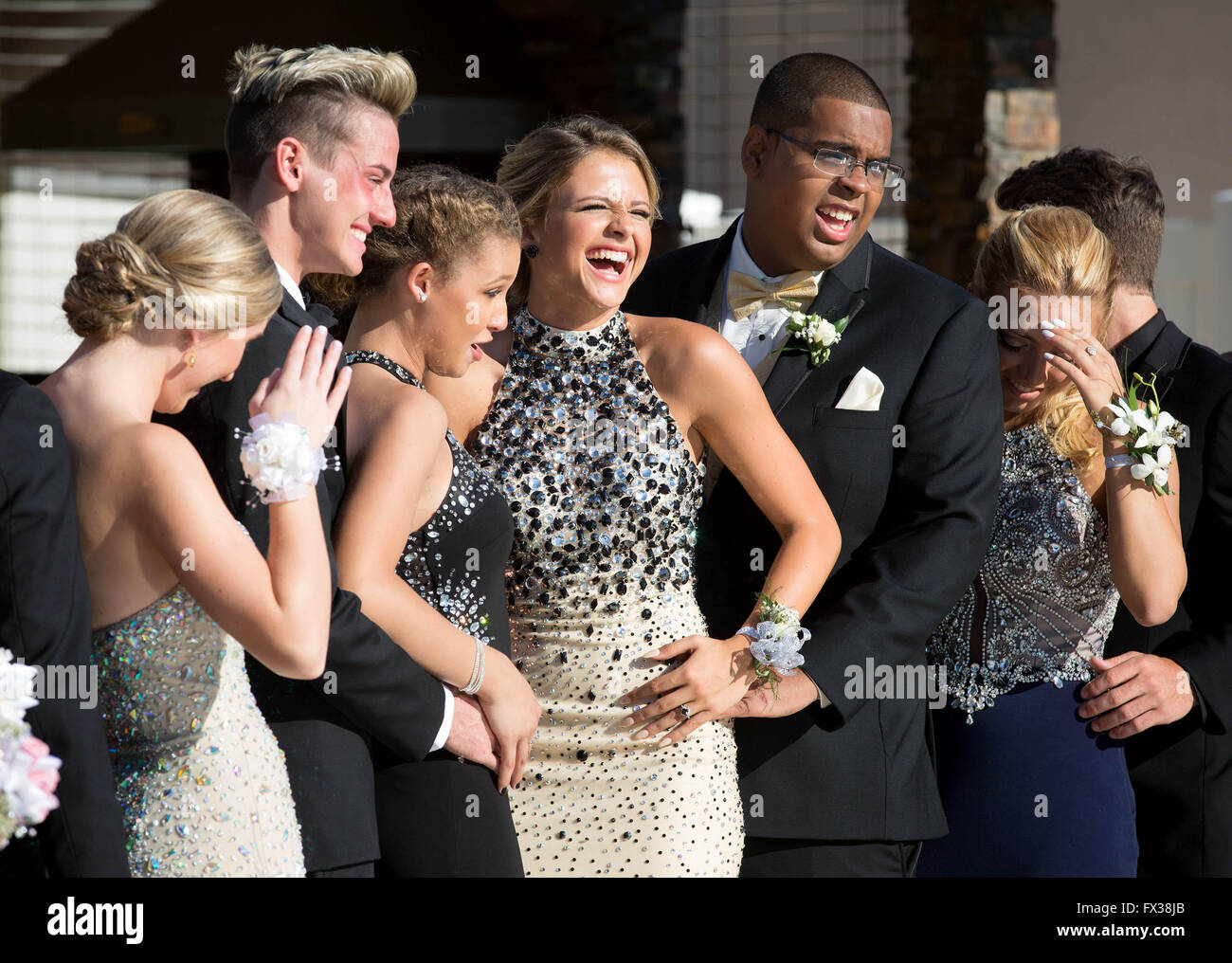 West Palm Beach, Florida, USA. 10th Apr, 2016. Mikal Bartosik with her prom date Jonathan Ramilo break down with - Stock Image