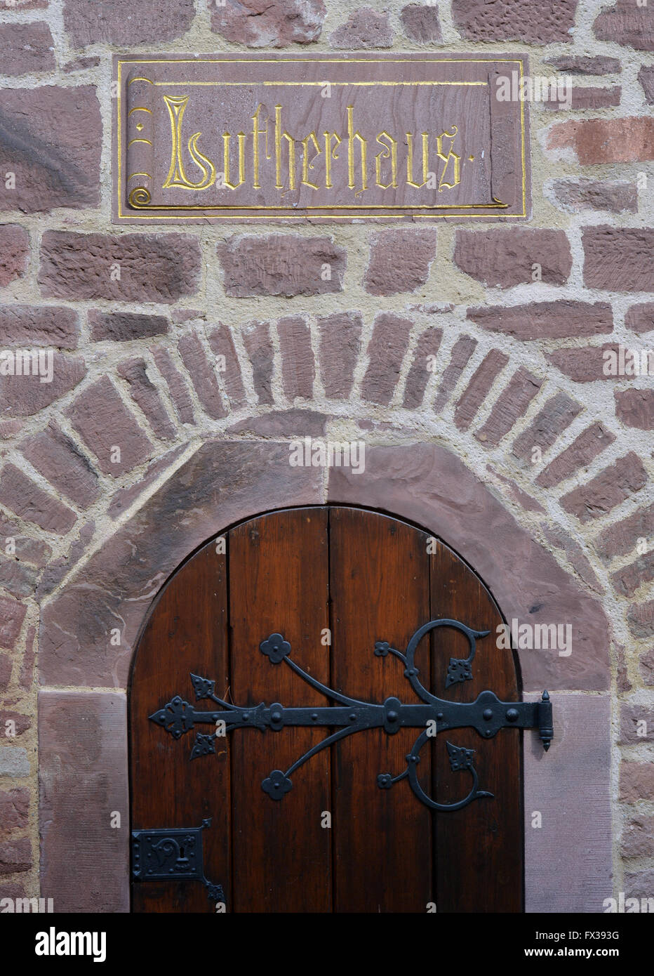 Mansfeld, Germany. 01st Apr, 2016. 'Lutherhaus' can be read above the door to Martin Luther's parents' - Stock Image