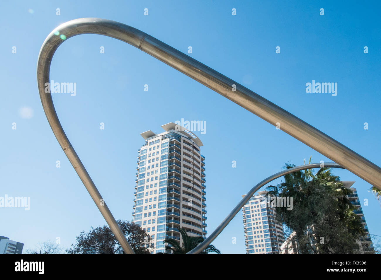 Tubular Structures in Parc,Park Diagonal Mar, Barcelona, Spain.Barcelona,Catalonia,Spain,Europe. Stock Photo