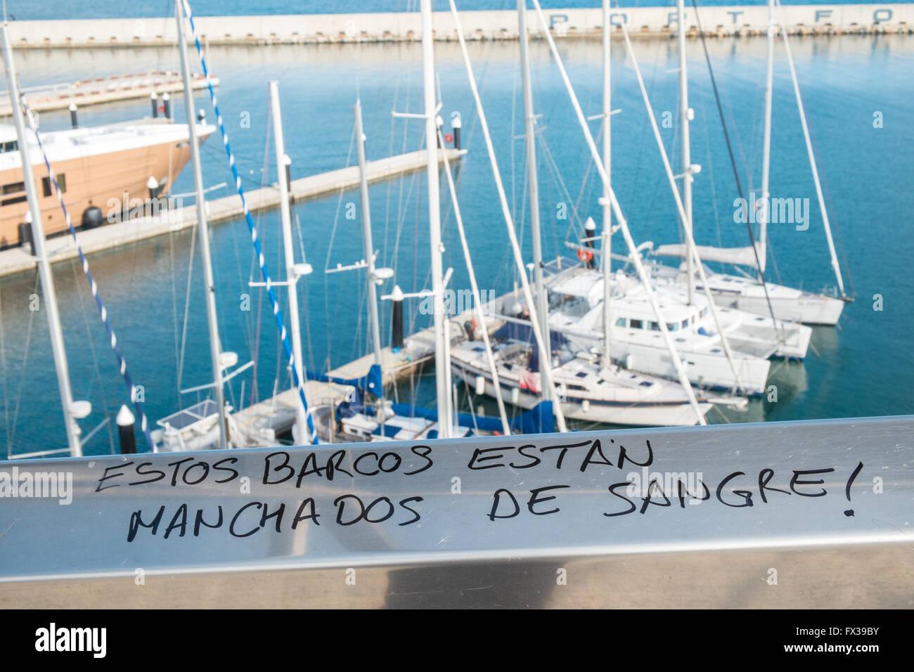Anticapitalist,anti,capitalist,graffiti,Marina Forum,port for private boats and yachts,Parc de la Forum,Sant Marti - Stock Image