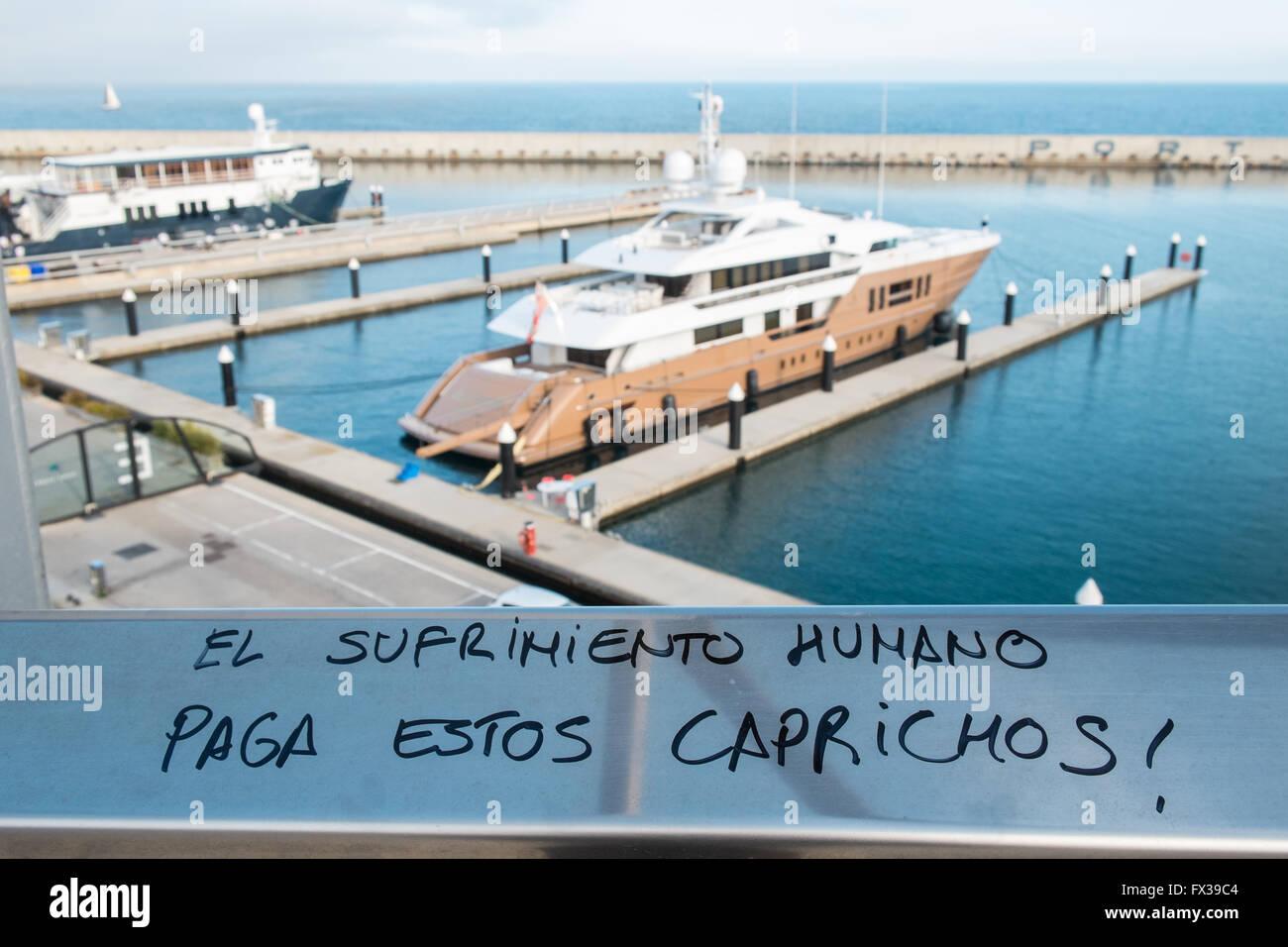Anticapitalist,grafitti,graffiti,Marina Forum,port for private boats and yachts,Parc de la Forum,Sant Marti district,Barcelona,Catalonia,Spain,Spanish - Stock Image