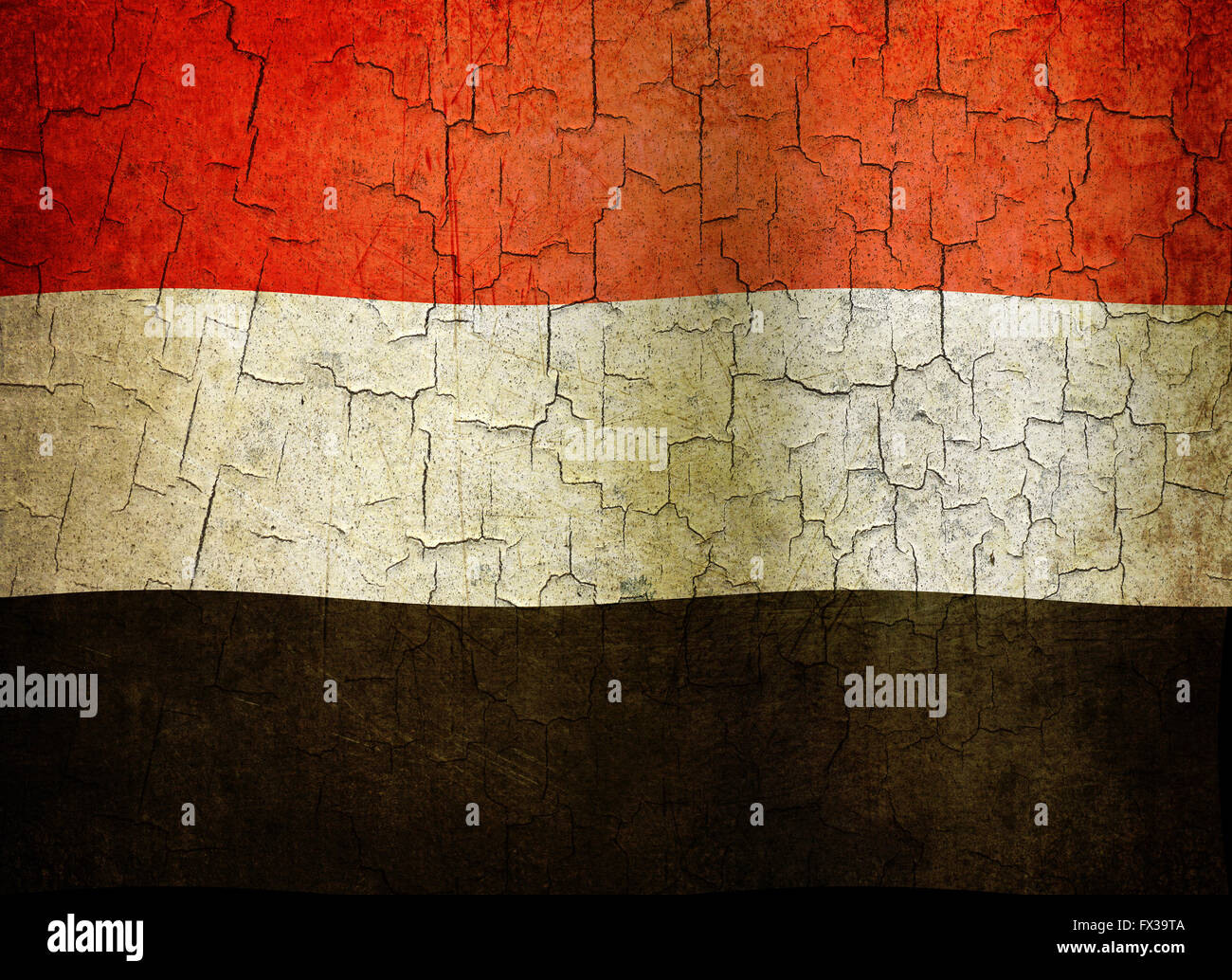 Yemen flag on an old cracked wall Stock Photo