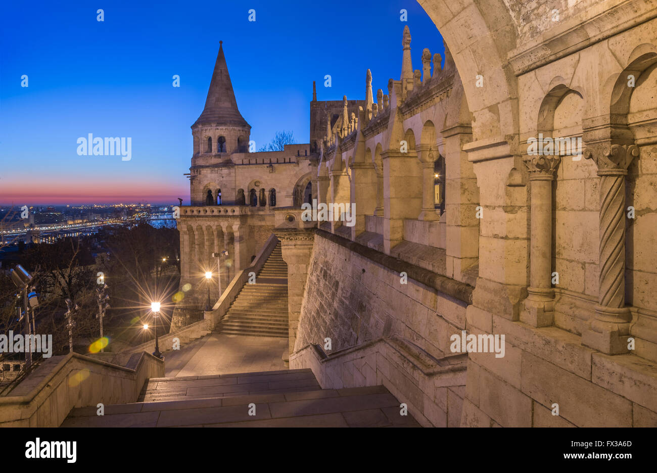North Gate of Fisherman's Bastion in Budapest, Hungary Illuminated at Dawn Stock Photo