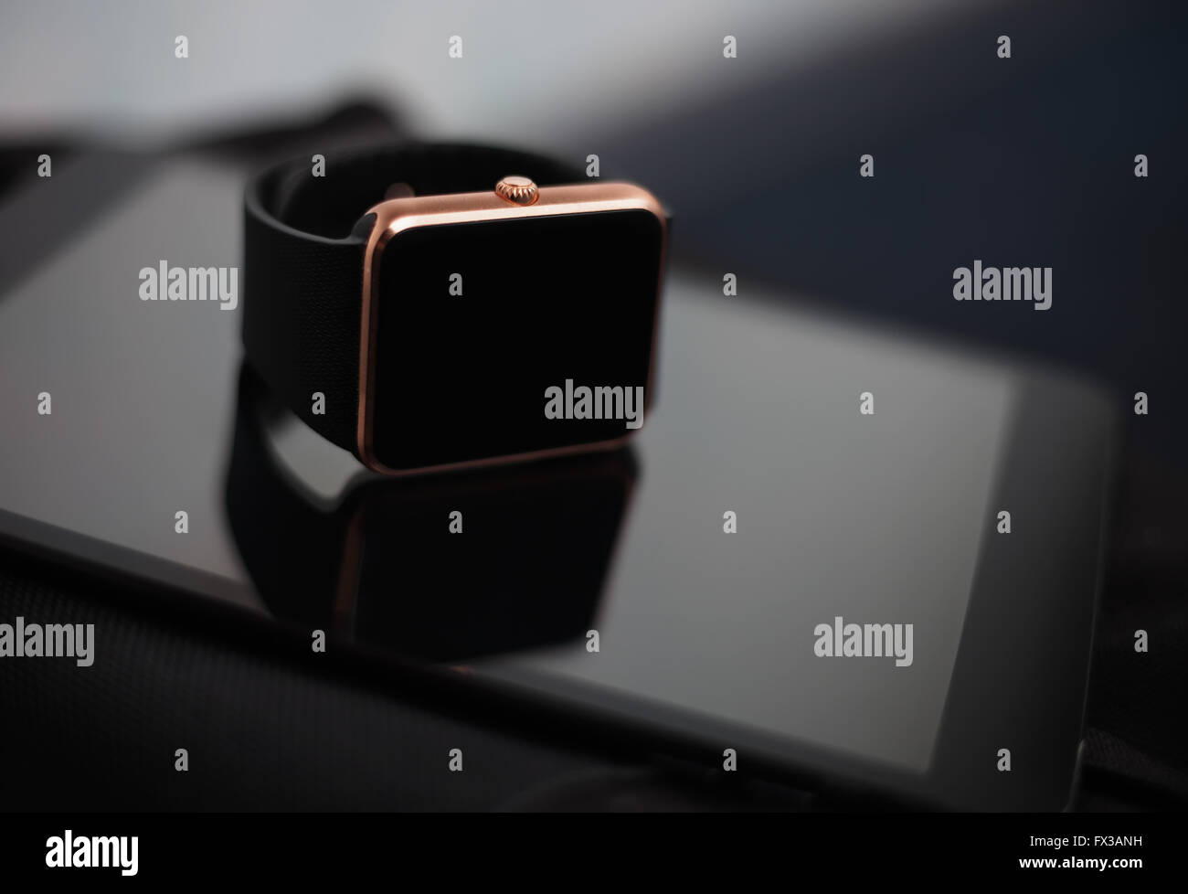Wearable clever technology of today - smart wrist watch and tablet pc. This digital gevices will let you stay connected - Stock Image