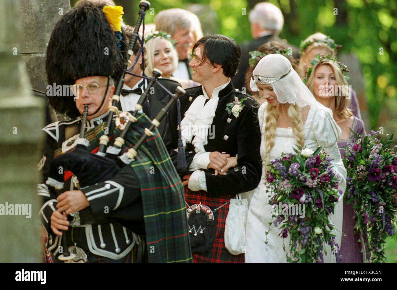 Donovan Leitch and model Kirsty Hume at their wedding in Luss, Scotland. - Stock Image