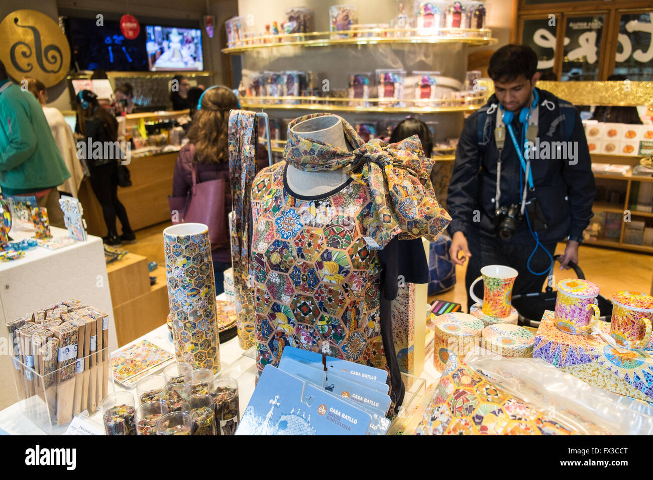11624351fa006 Tourists at gift shop buying souvenir in antoni gaudi casa batllo jpg  1300x956 Gaudi shop