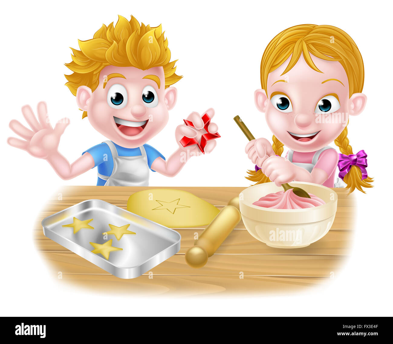 Cartoon Kids Baking And Cooking As Chefs In The Kitchen Fx E F