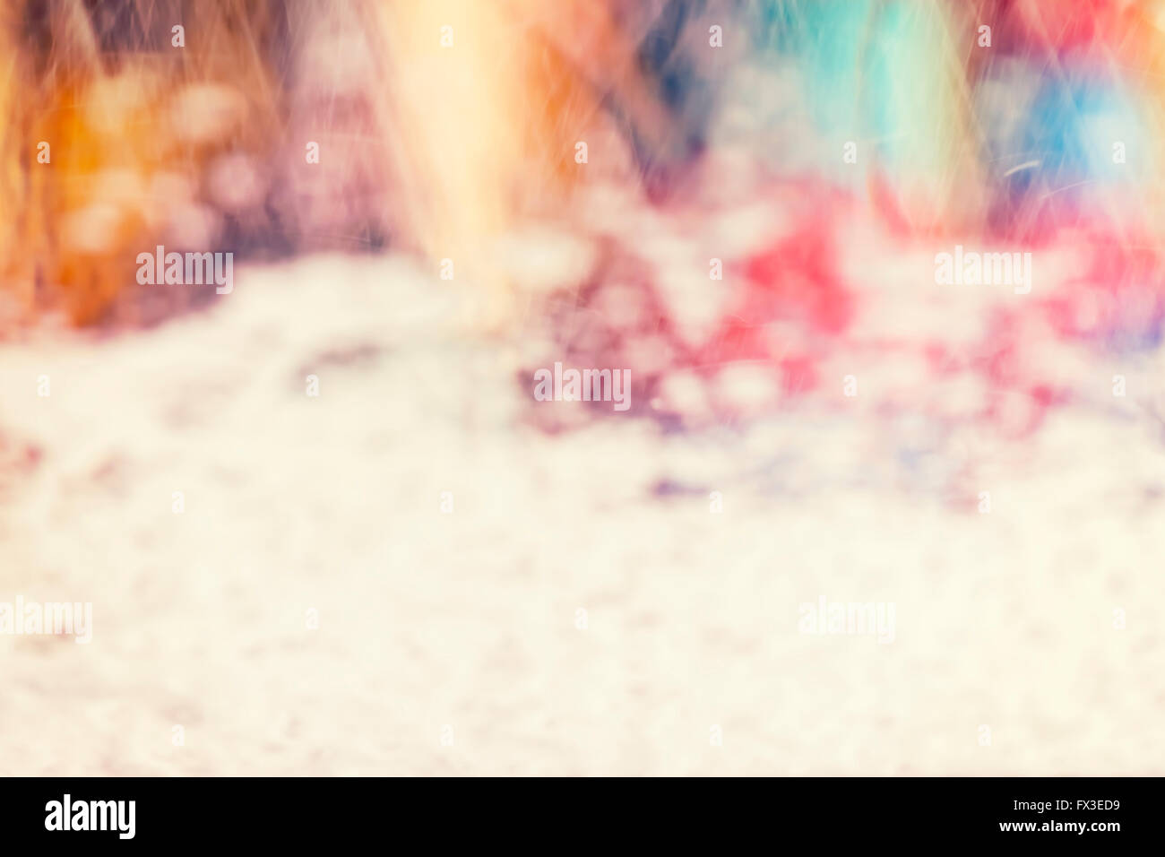 Vintage toned blurred picture made inside of a car in car wash, abstract background. - Stock Image