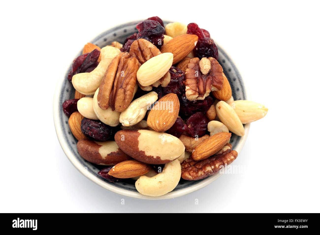 A bowl of mixed nuts - Stock Image