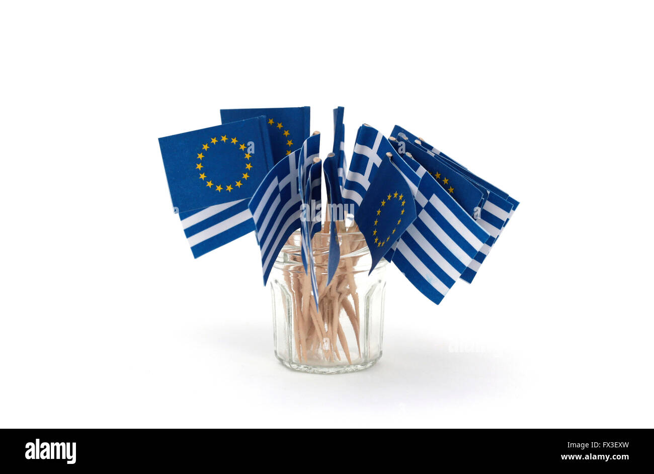 Little European and Greek flags - Stock Image