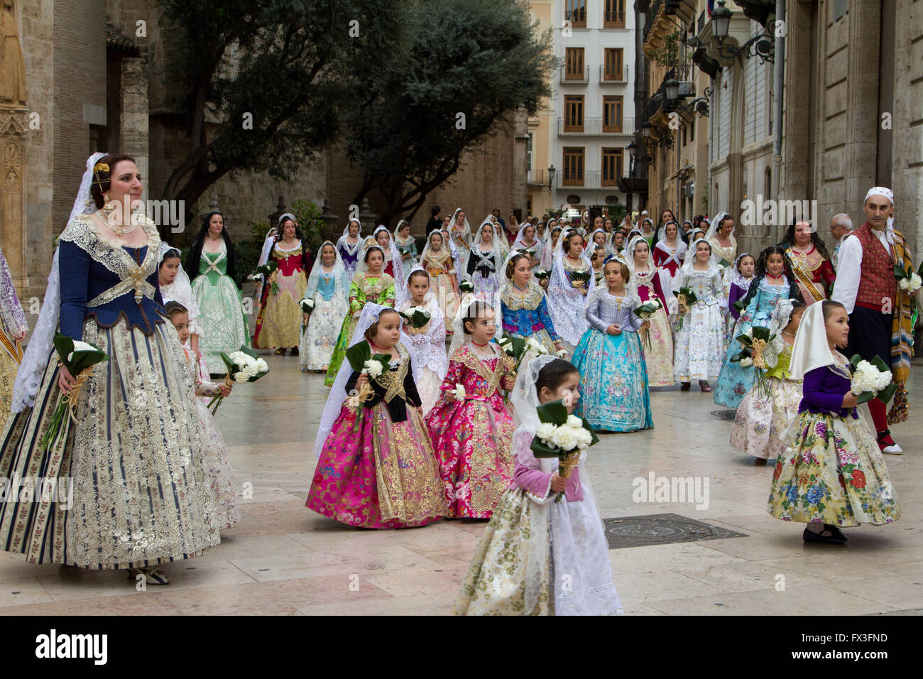 Flower offering procession honouring the holy Lady of Valencia, Valencia Spain - Stock Image