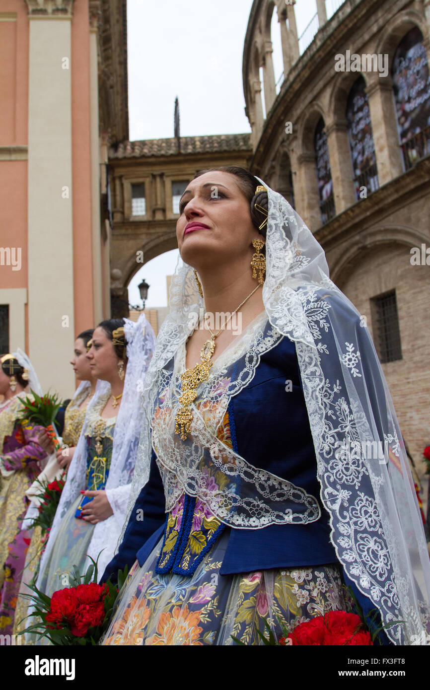 Flower giving procession honouring the holy lady of Valencia, Valencia Spain - Stock Image