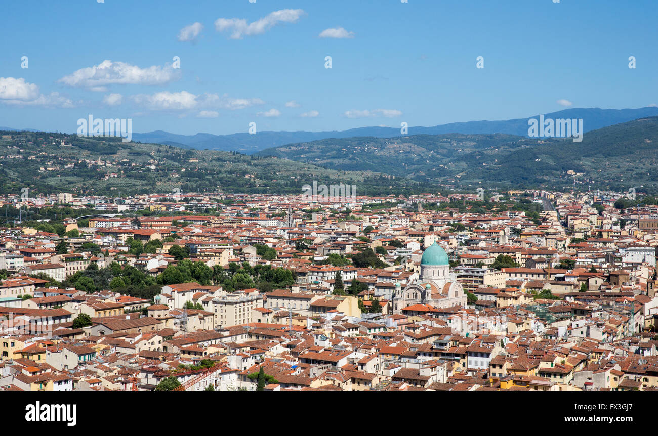 Florence, Italy cityscape showing the surrounding hills and the blue-domed Great Synagogue of Florence, or Tempio Stock Photo