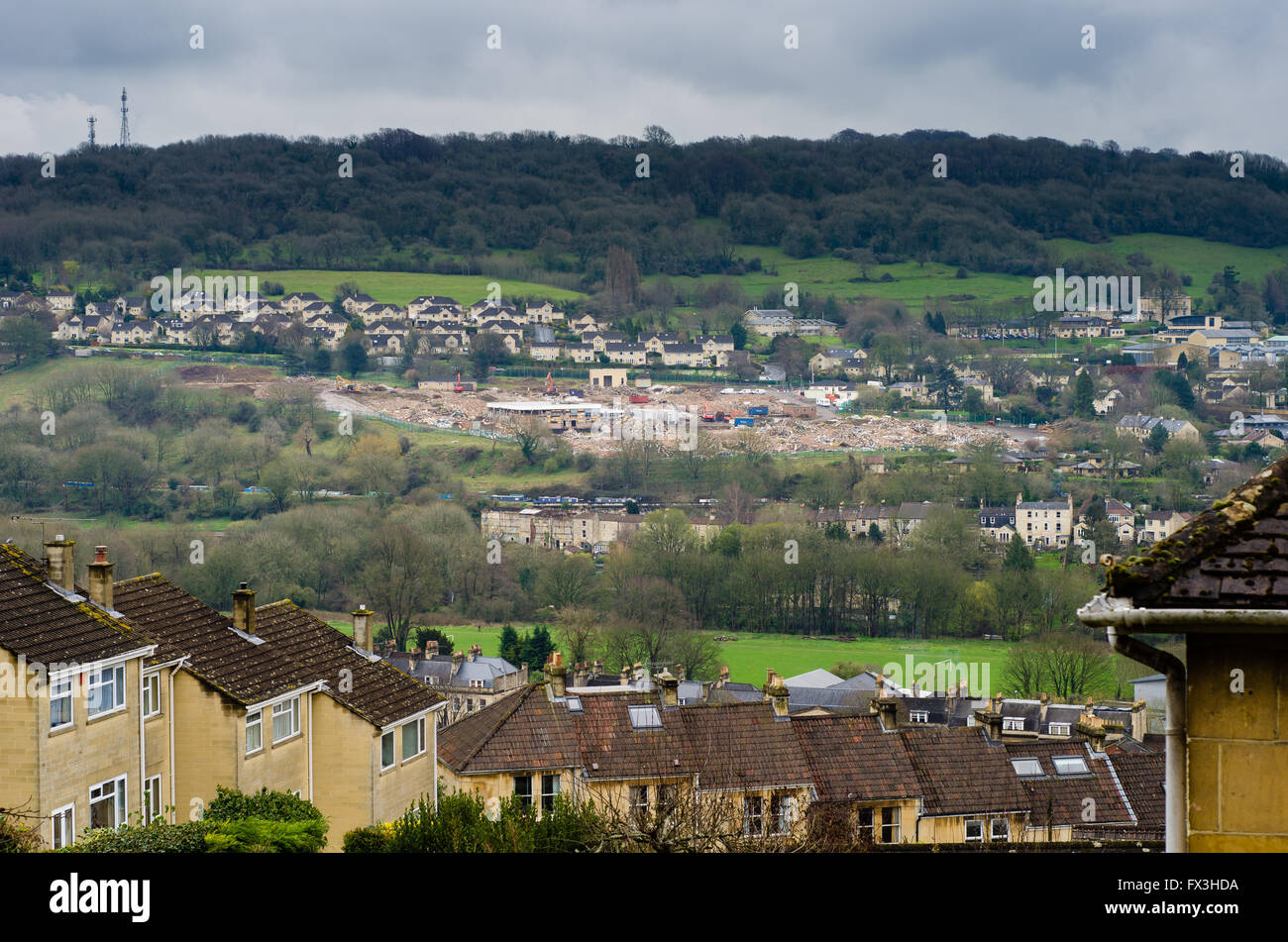 Demolition of MOD buildings. Former Ministry of Defence site is being clear for housing on Warminster Road in Bath, - Stock Image