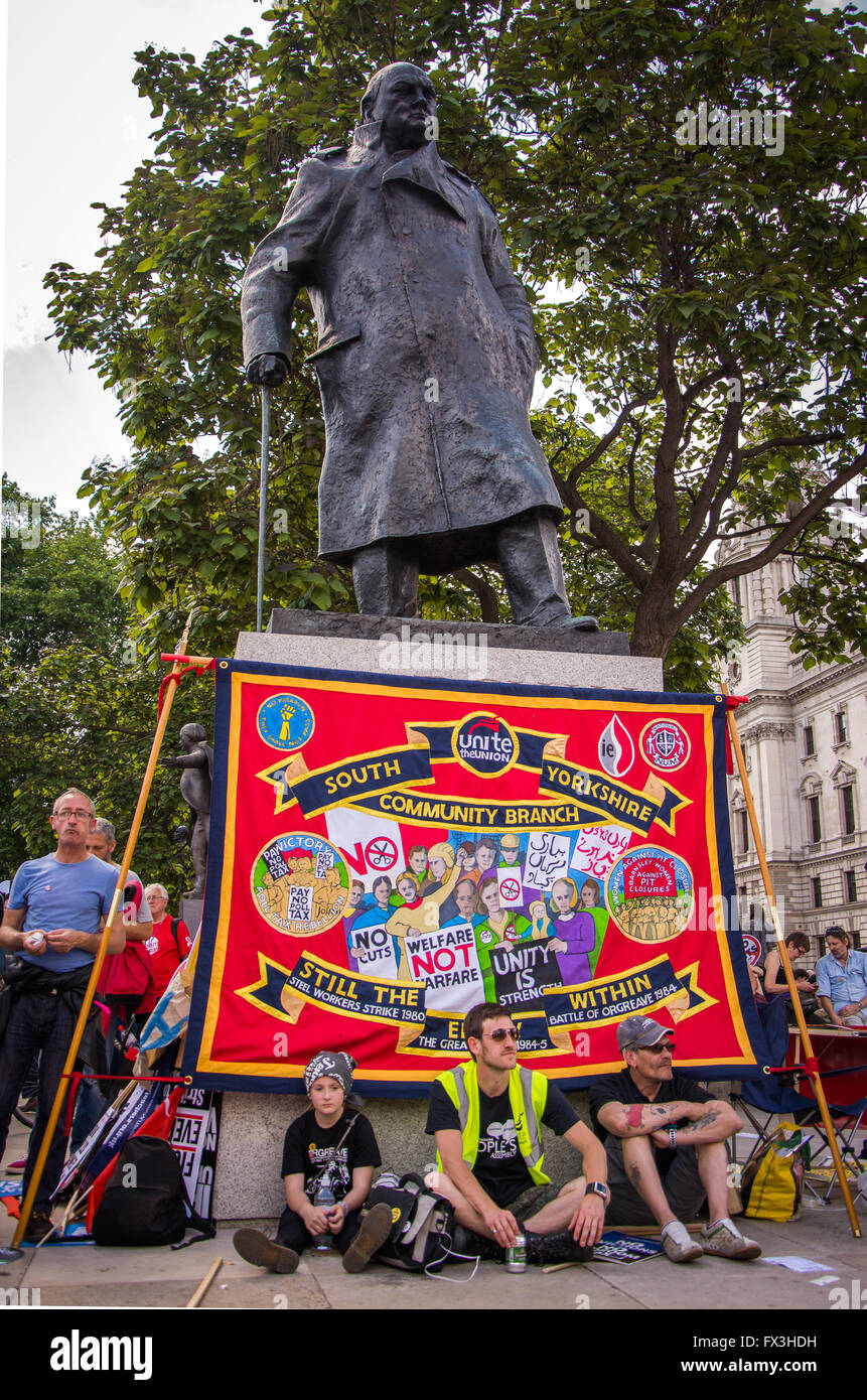 'No More Austerity' protest march, London, June 21, 2014 - Stock Image