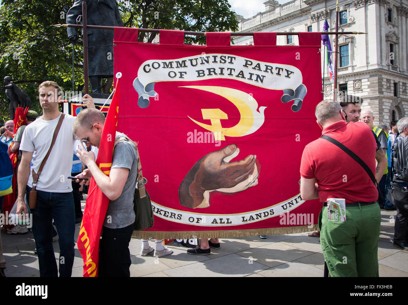Communist Party at 'No More Austerity' protest march, London, June 21, 2014 - Stock Image