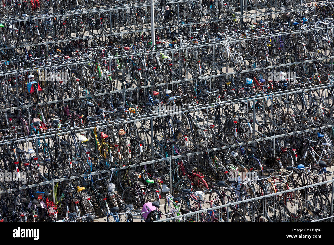 Bicycle storage at the train station in Delft, Holland - Stock Image