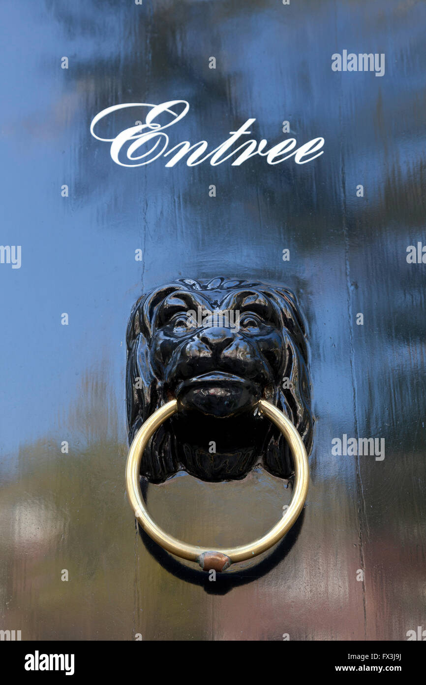 Antique doorknocker in the city of Delft, Holland - Stock Image