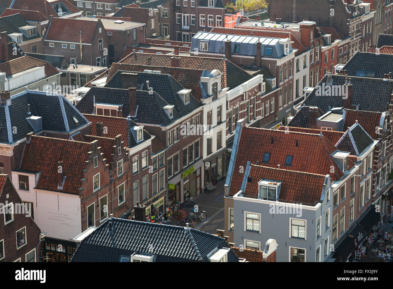 Roofs and streets seen from the tower of the New Church - Stock Image
