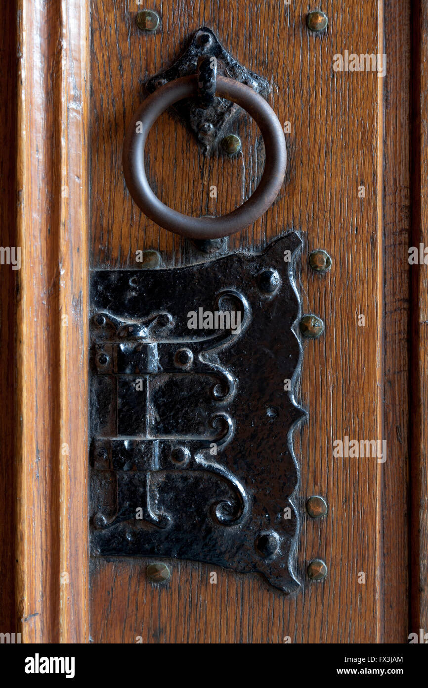 Detail of an antique door fitting in the new church in Delft, Holland - Stock Image