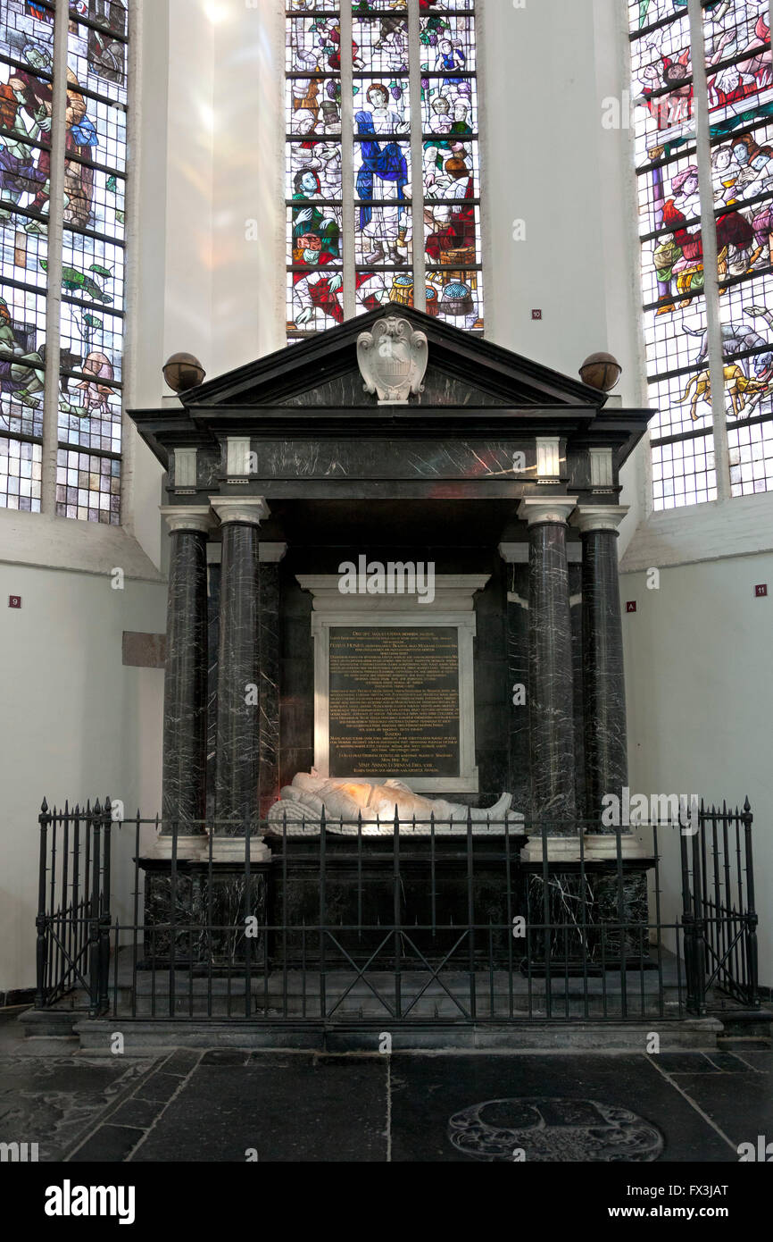 Mausoleum of Piet Hein in the old church in Delft, Holland - Stock Image