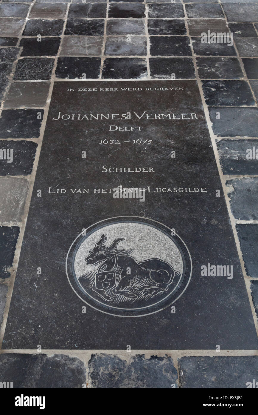 Tombstone of Johannes Vermeer in the old church in Delft, Holland - Stock Image