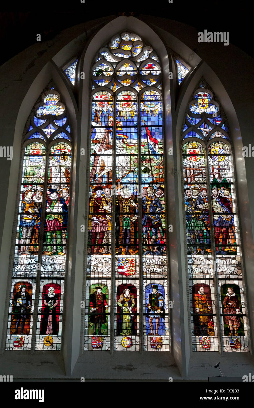 Stained windows in the old church in Delft, Holland - Stock Image