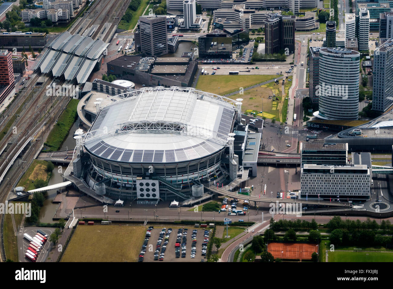Aerial view of the Ajax football stadium in Amsterdam, Netherlands - Stock Image
