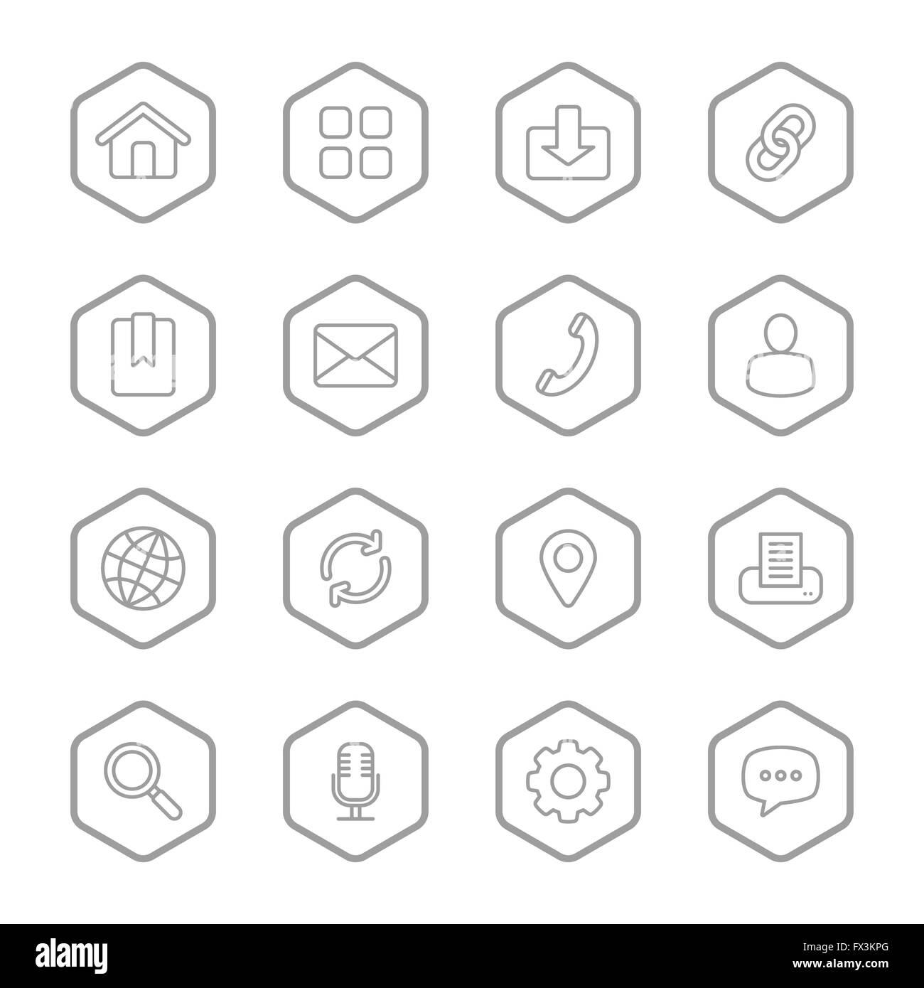 JPEG] gray line web icon set with hexagon frame for web, UI Stock ...