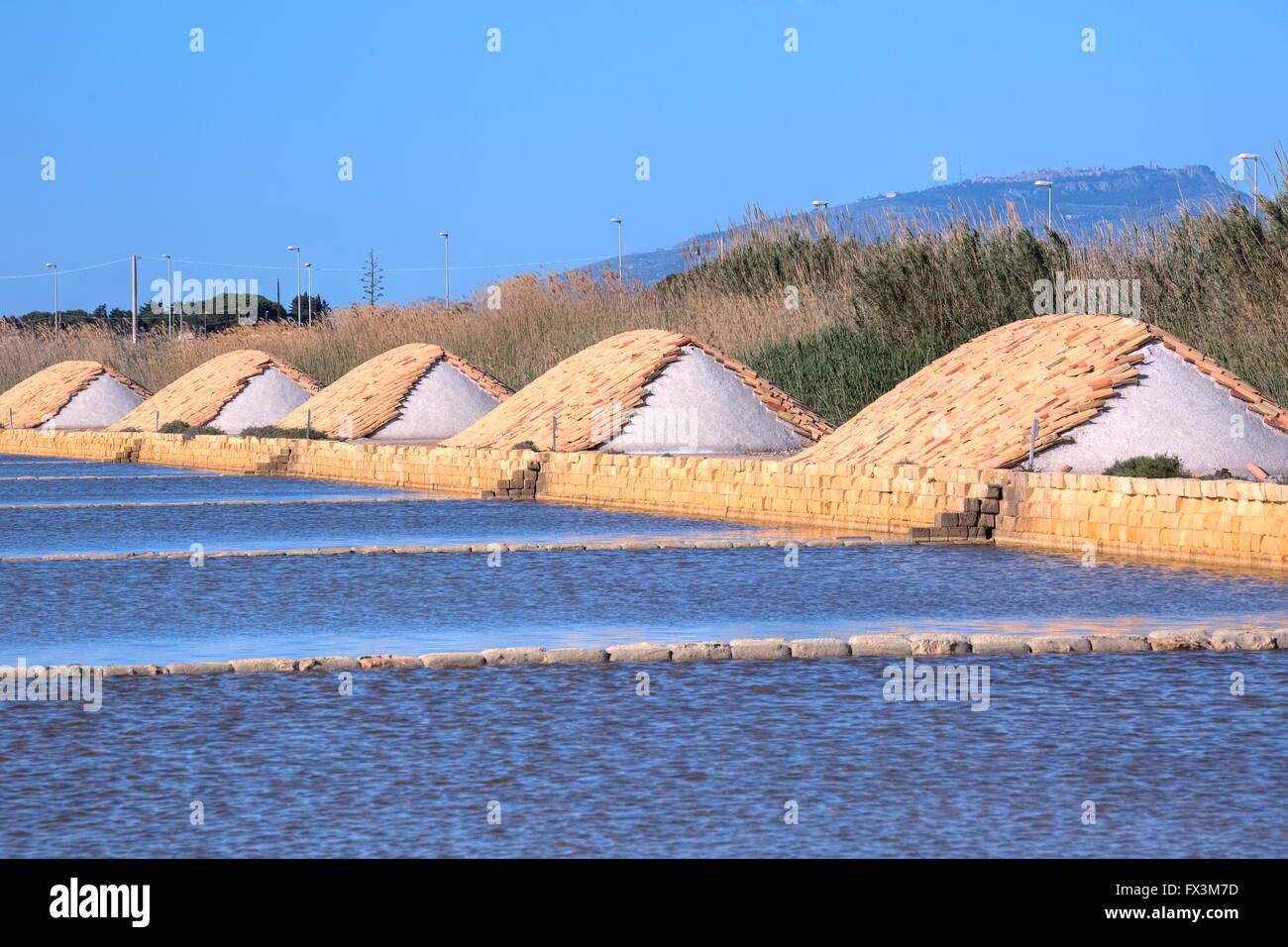 Saline, Marsala, Mozia, Sicily, Italy - Stock Image