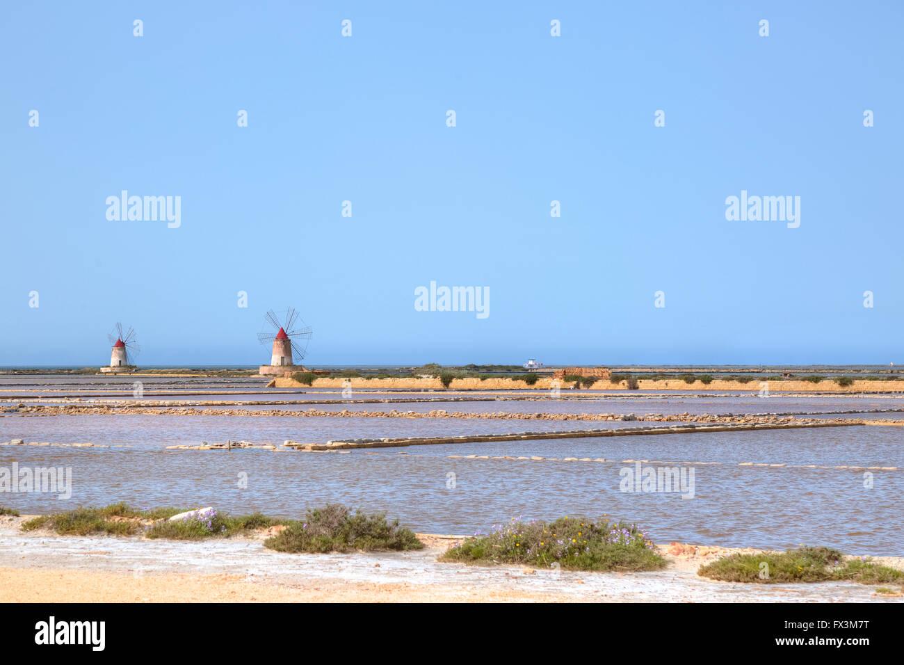 Salt Mills, Marsala, Mozia, Sicily, Italy - Stock Image