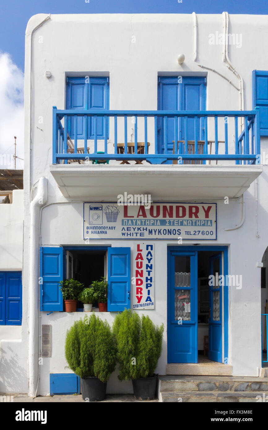 Laundry shop stock photos laundry shop stock images alamy laundry shop on mykonos greece stock image solutioingenieria Images
