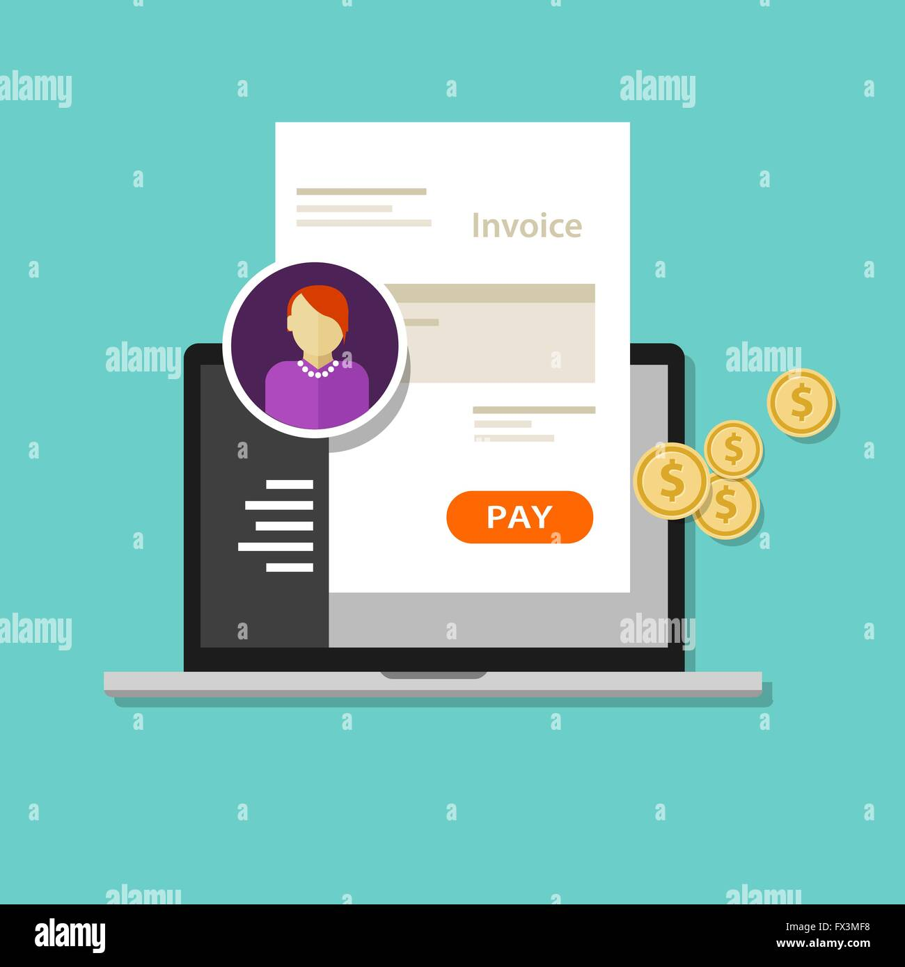 Invoice Invoicing Online Service Pay Stock Vector Art Illustration - Online invoice service