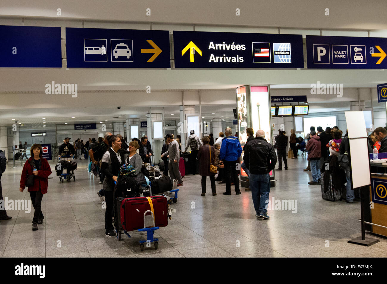 Arrival area at Pierre Elliot Trudeau airport in Montreal, Que., on Saturday Nov. 7, 2015. - Stock Image