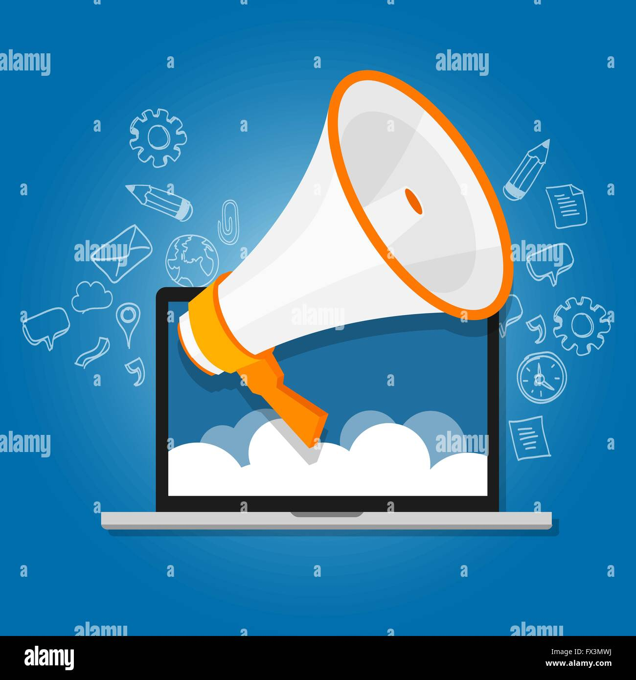 megaphone announce speaker shout online public relation marketing digital - Stock Image